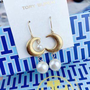 Tory Burch Matte Pearl Moon Asymmetric Earrings